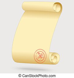 Greeting card in the form of a scroll with a seal with a...