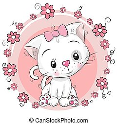 Greeting card Kitten with flowers on a pink background