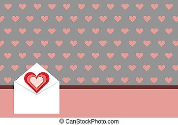 Greeting card love messages concept 3D illustration