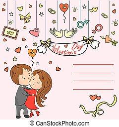 Greeting card, love tree, the inscription I love you, loving couple