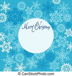 Greeting card Merry Christmas with snowflakes