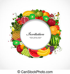 Greeting card of fruit. Round frame for your design