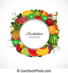 greeting card of fruit - Greeting card of fruit. Round frame...