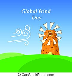 Greeting Card of Global Wind Day