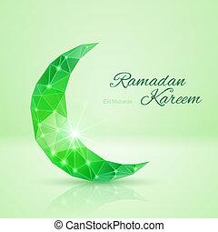 Greeting card of holy Muslim month Ramadan - Ornate crescent...