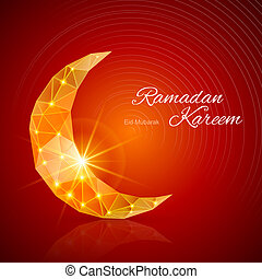 Greeting card of holy Muslim month Ramadan - Crescent Moon...