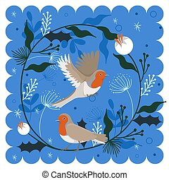 Greeting card of robin birds with plants elements. Vector graphics.