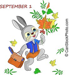 Greeting card of September 1, happy hare, cartoon on a white background.