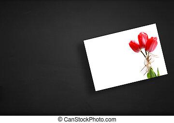 greeting card on board