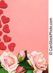 Greeting card on coral background. Selective focus. Valentines day, Womens day, Mothers day. Background with copy space.