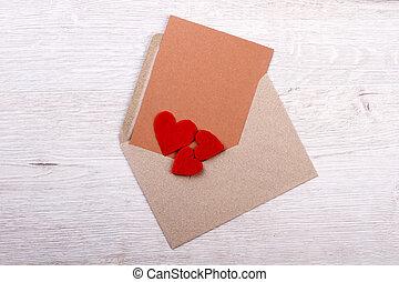 Greeting card on envelope.
