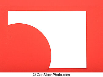 Greeting card on red paper