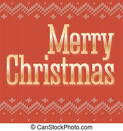 Greeting card on the traditional, classic knitted red background.