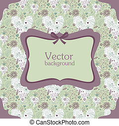 Greeting card or invitation with floral seamless background.