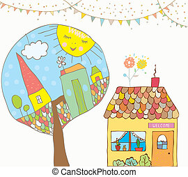 Greeting card or invitation with house, trees, bunting flags for kids - funny background