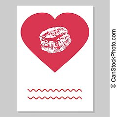 Greeting card or wedding invitation. Imprint of female lips in red heart shape. Vector illustration.