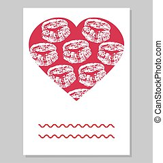 Greeting card or wedding invitation. Mark of female lips in red heart shape. Vector illustration.
