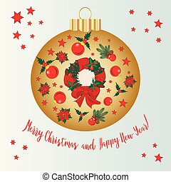 christmas glass ball with christmas wreath