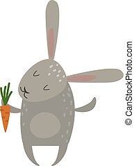 Greeting card rabbit bunny with carrot  illustration.