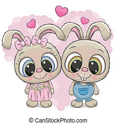 Rabbits boy and girl on a heart background