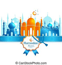 Greeting Card Ramadan Kareem design with silhouette of mosque