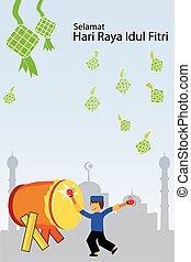 Greeting Card - Ramadhan Kareem - Vector Greeting Card -...