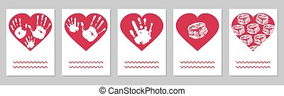 Greeting card, set. Handprints of family, imprint of palm hand of mother, father and baby, imprint of lips in red heart shape. Vector illustration