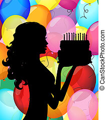 silhouette of a girl with cake
