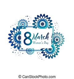 Color flyer for March 8 with the decor of paper cut flowers. Happy Women's Day. Trendy Design Template. Vector illustration