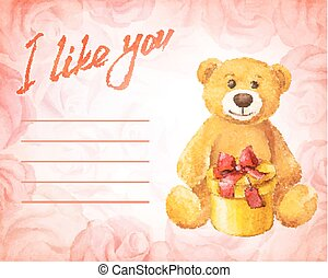 Greeting card. Teddy bear with a gift on a background of pink roses. Watercolor vector illustration.