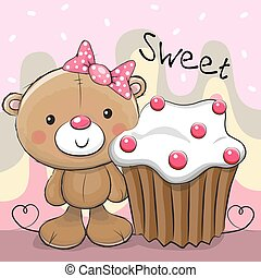 Greeting card Teddy Bear with cake