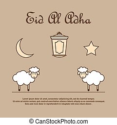 Greeting card template for Eid-Ul-Adha with sheep. -...
