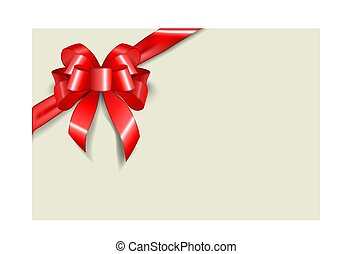 Greeting card template with a lush red bow and ribbon