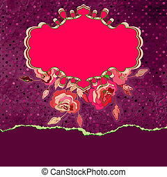 Greeting card template with floral. EPS 8