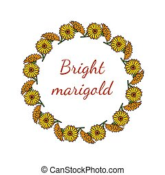 Greeting card template with round frame wreath of calendula flowers, vector illustration