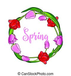 Greeting card template with wreath, round frame of tulip flowers