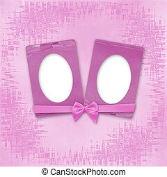 Greeting Card to holiday with frames on the pink background