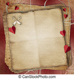 Greeting Card to St. Valentine's Day with hearts and Old...