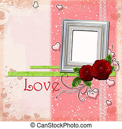 Greeting Card to Valentine's Day with silver frame,  hearts and roses