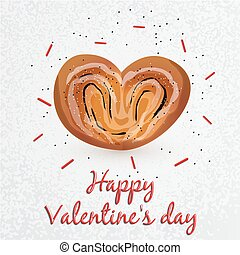 Greeting card. Valentine's Day. Series with sweets. Bun with poppy seeds in a heart shape in the center. Set for your vector design. It can be used as a corporate identity bakery or cafe