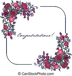 Greeting card vector colorfull pomegranate isolated...