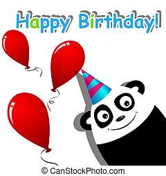 Greeting card - Vector greeting card with a panda