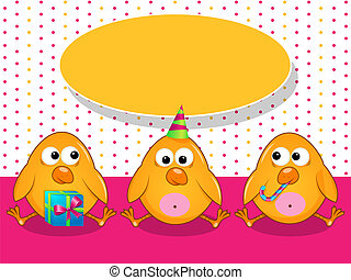 Greeting card - Vector greeting card with poults