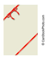 Greeting card Vertical template tied with a thin red ribbon with a bow.