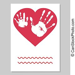 Greeting card. White imprint of baby palm hand and man palm in red heart shape. Handprints of son and father.  Vector illustration.