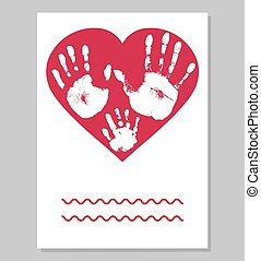 Greeting card. White imprint of baby palm hand and mother palm hand and father palm in red heart shape. Handprints of family.  Vector illustration.