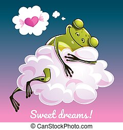 Greeting card with a cartoon frog on the cloud