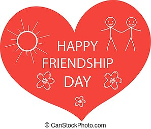 Greeting card with a happy friendship day. Greeting heart hand drawing style. Vector illustration