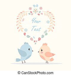 greeting card with a picture of bird lovers