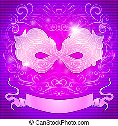 greeting card with a purple mask and ribbon for festive masquerade invitations